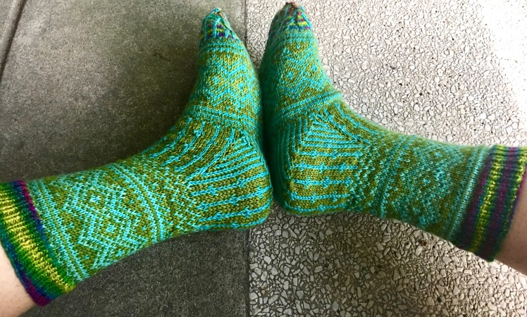 Gussets in completed Katherine Misegades sock pattern