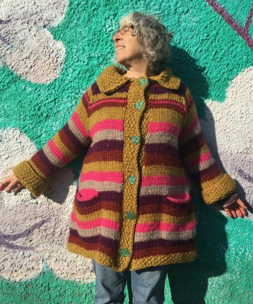 Front view of modeled knitted coat