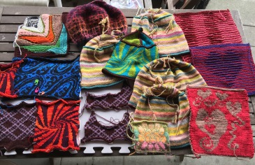 Experimental swatches of hand knitting and machine knitting