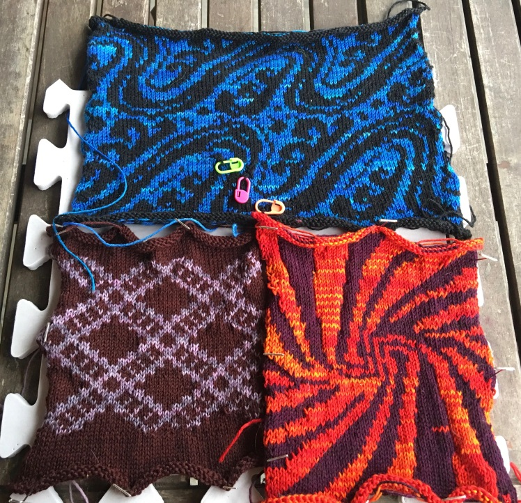 Machine-knit swatches of patterns preprogrammed into Brother KH965i knitting machine