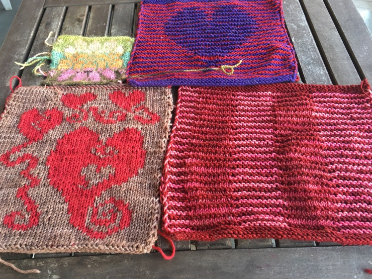 Swatches of stranded knitting, shadow knitting, double knitting