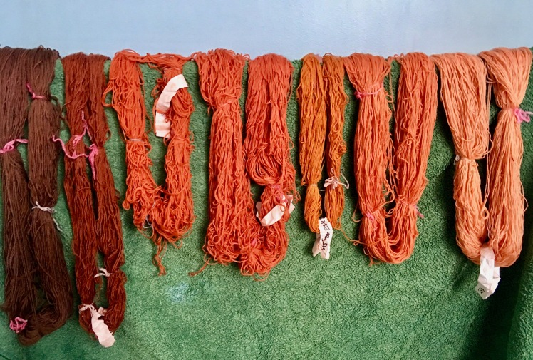 Madder dye on superwash yarn