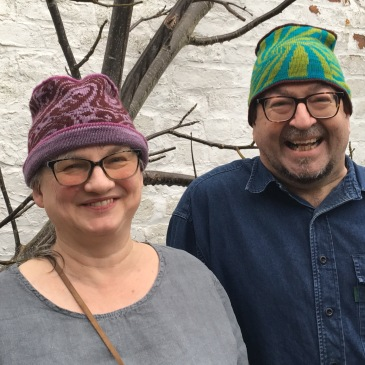 Modeled machine-knit hats using preprogrammed fairisle patterns