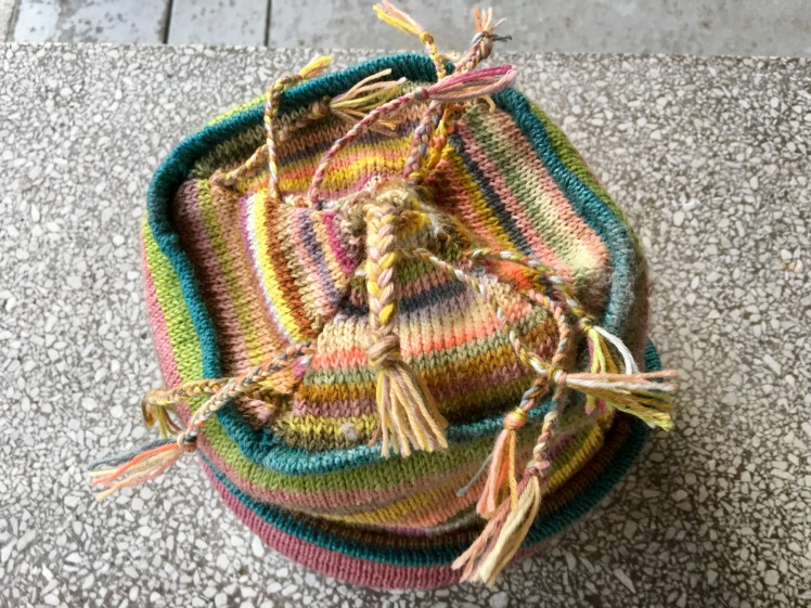 Top view of machine-knit hat made of plant-dyed yarn