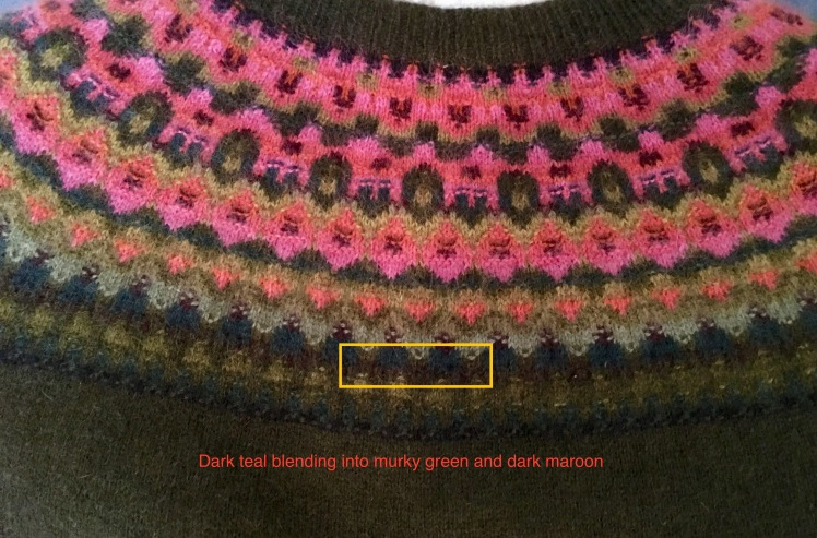 Low contrast color progressions in Bohus knitting