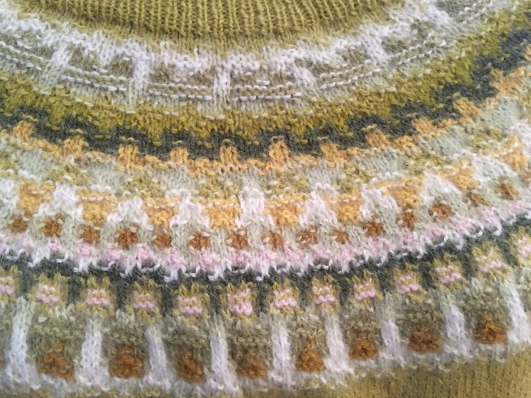 Knit-purl textures outline the shapes in Bohus knitting